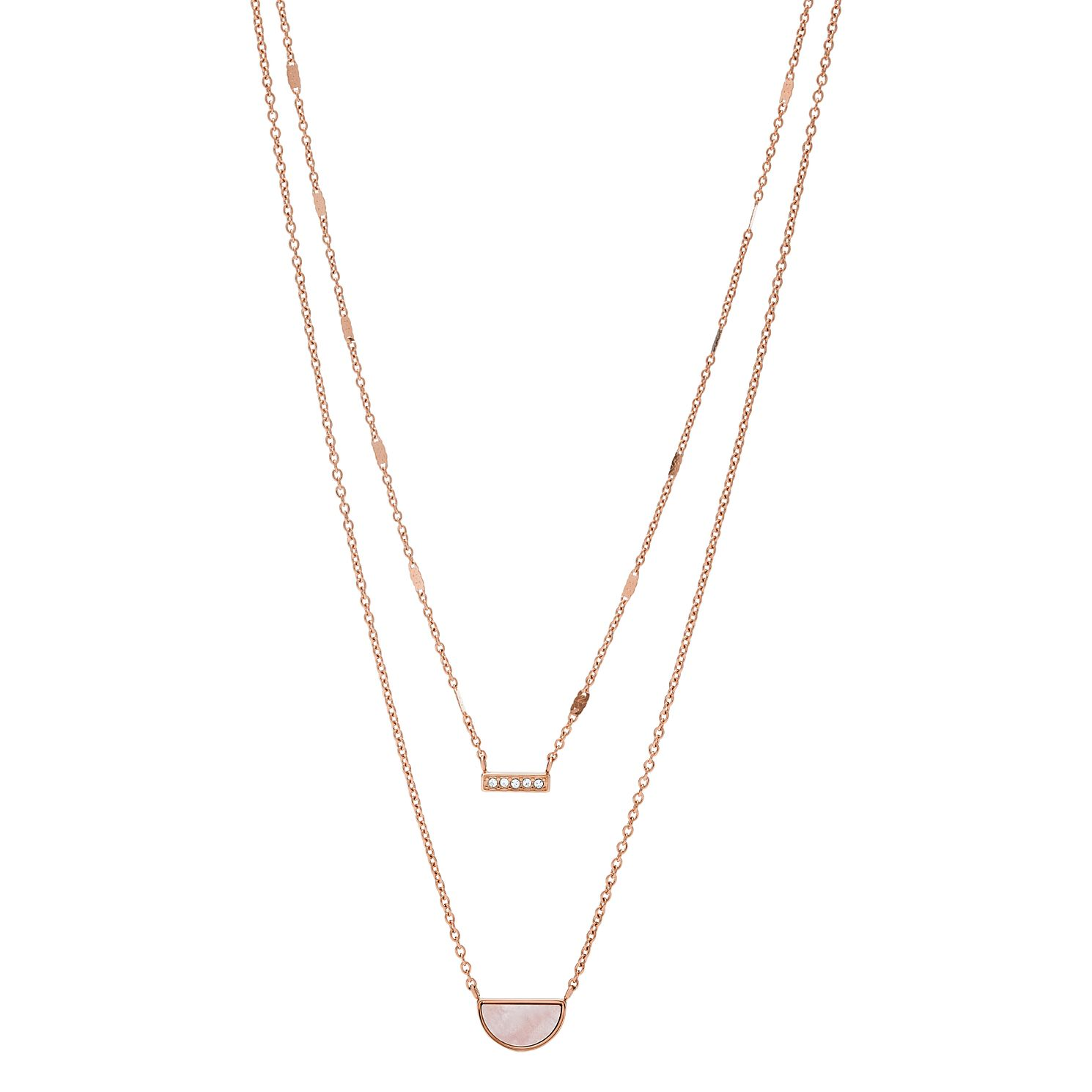 Fossil Rose Gold Tone Cubic Zirconia Duo Half Moon Necklace - Product number 2471418