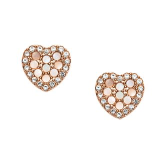 Fossil Rose Gold Tone Cubic Zirconia Glitz Heart Earrings - Product number 2471426