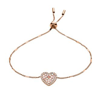 Fossil Rose Gold Tone Cubic Zirconia Mosaic Heart Bracelet - Product number 2471434