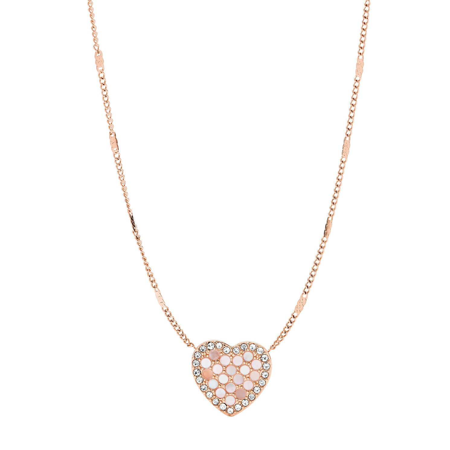 Fossil Rose Gold Tone Cubic Zirconia Glitz Heart Necklace - Product number 2471442