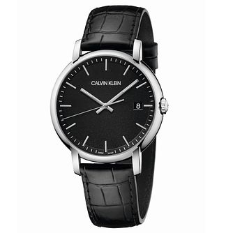 Calvin Klein Established Men's Black Leather Strap Watch - Product number 2471485