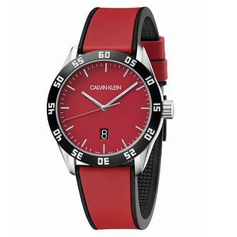 Calvin Klein Men's Red Silicone Strap Watch - Product number 2471507