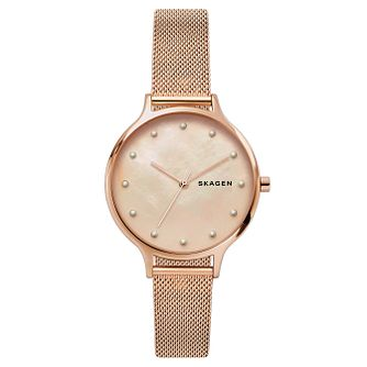Skagen Anita Ladies' Rose Gold Tone Mesh Bracelet Watch - Product number 2471531
