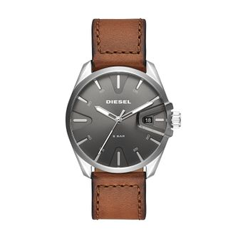 Diesel NSBB Men's Brown Leather Strap Watch - Product number 2471612