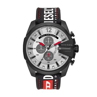 Diesel Mega Chief Men's Black Silicone Strap Watch - Product number 2471639