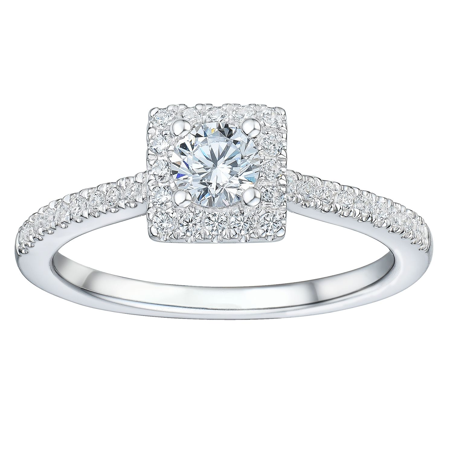Tolkowsky 18ct White Gold 1/2ct Solitaire Square Halo Ring - Product number 2476207