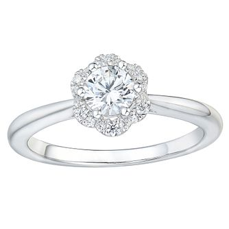 Tolkowsky 18ct White Gold 1/2ct Solitaire Flower Halo Ring - Product number 2479362