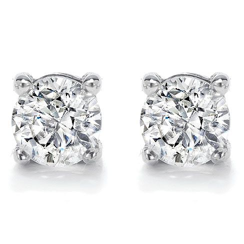18ct White Gold 1/3ct Diamond H/I SI2 Solitaire Earrings - Product number 2482398