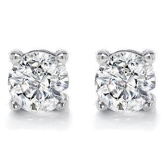 18ct White Gold 1/3ct Diamond G/H Si1 Solitaire Earrings - Product number 2482932
