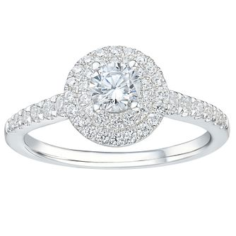 Tolkowsky 18ct White Gold 2/3ct Solitaire Round Halo Ring - Product number 2485559