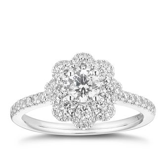 Tolkowsky 18ct White Gold 0.87ct Solitaire Flower Halo Ring - Product number 2486075