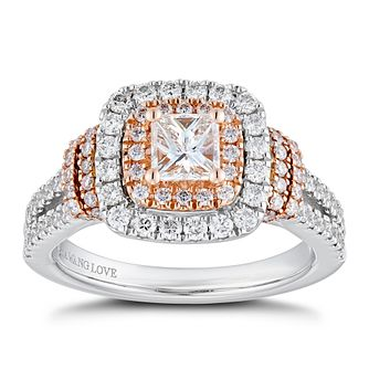 Vera Wang 18ct White & Rose Gold 1.18ct Total Diamond Ring - Product number 2504715
