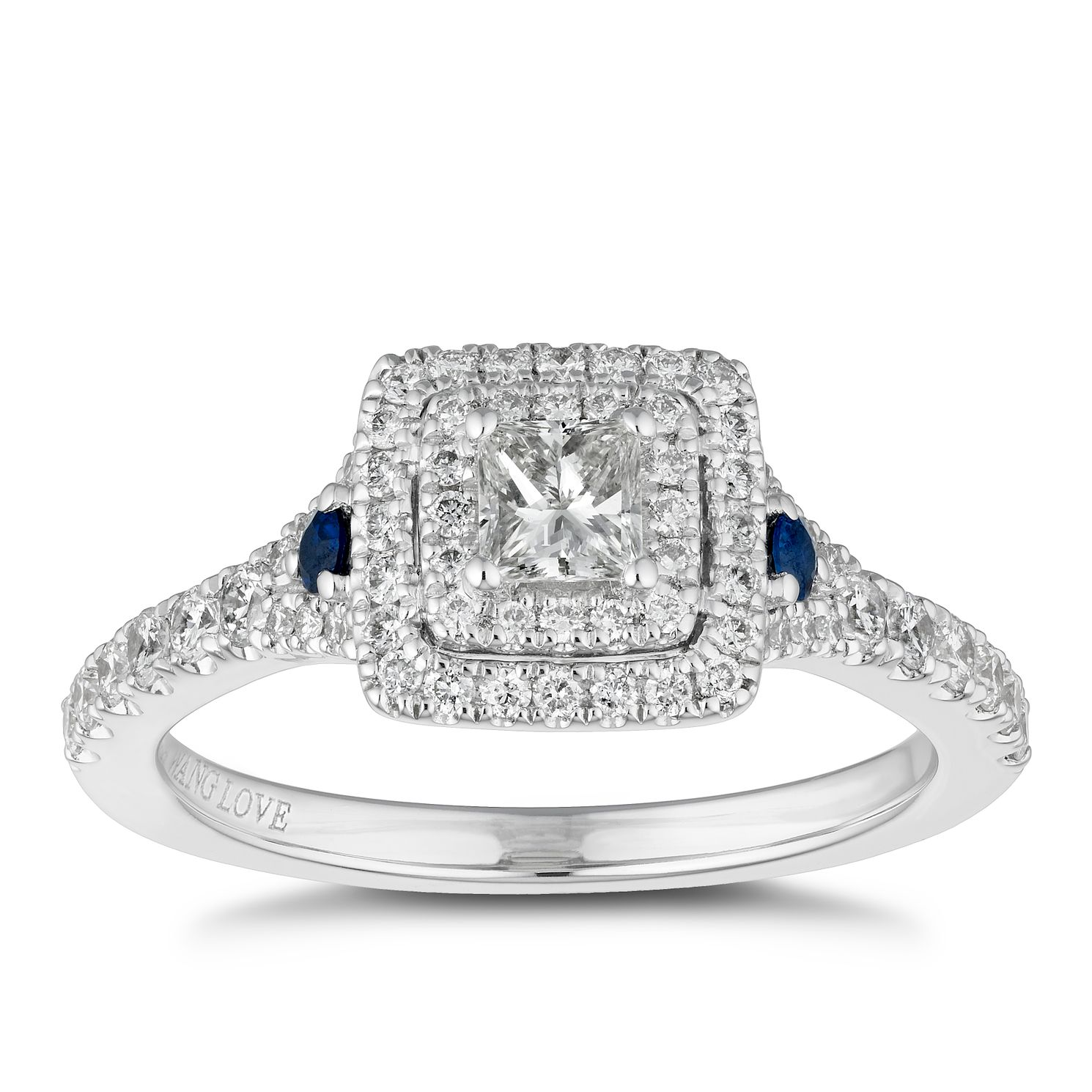 Vera Wang 18ct White Gold 0.70ct Diamond & Sapphire Ring - Product number 2504928