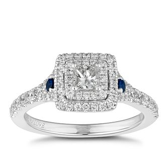 Vera Wang 18ct White Gold Sapphire & 0.70ct Diamond Ring - Product number 2504928
