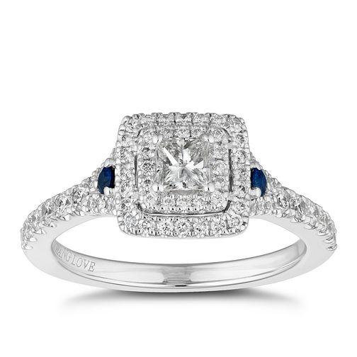 Vera Wang 18ct White Gold 0.75ct Diamond & Sapphire Ring - Product number 2504928