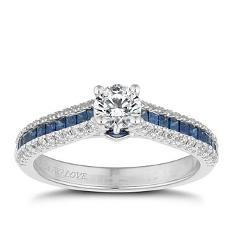 Vera Wang 18ct White Gold 0.58ct Diamond & Sapphire Ring - Product number 2505215
