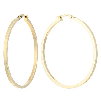 9ct Yellow Gold Tube Creole Earrings 38mm - Product number 2513595