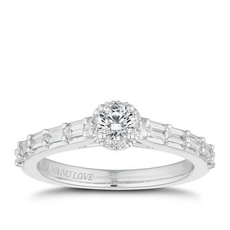 Vera Wang 18ct White Gold 0.45ct Diamond Halo Ring - Product number 2514524