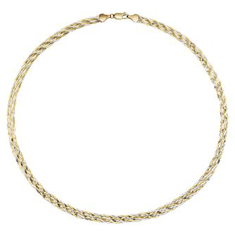 "9ct two colour six plait 18"" herringbone necklace - Product number 2515040"