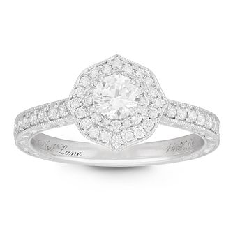 Neil Lane Designs 14ct White Gold 2/3ct Diamond Halo Ring - Product number 2533987