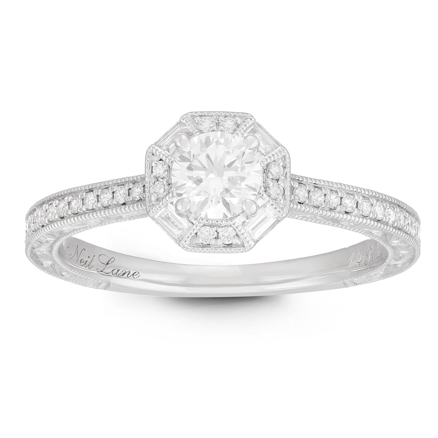Neil Lane Designs 14ct White Gold 3/5ct Diamond Halo Ring - Product number 2534290