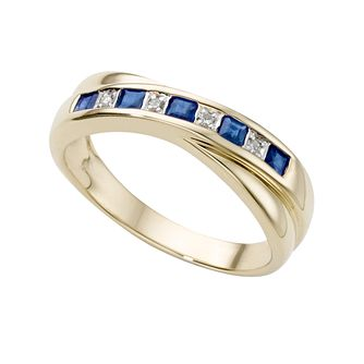 9ct gold sapphire and diamond ring - Product number 2538547