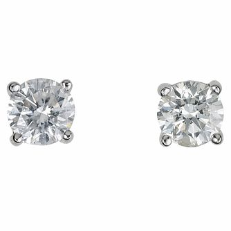 18ct White Gold 1/2ct Diamond G-H SI1 Solitaire Earrings - Product number 2541750