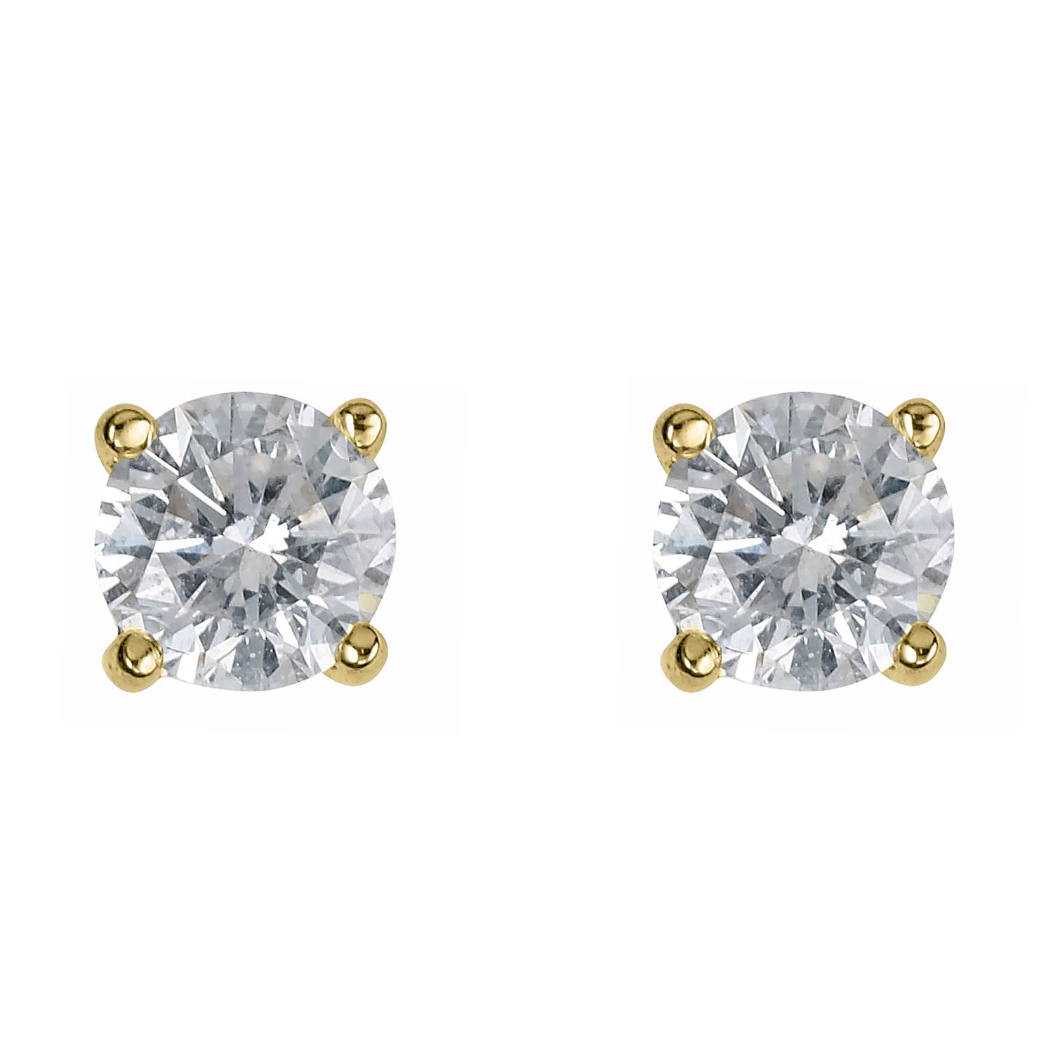 18ct Yellow Gold 1/2ct Diamond F-G VS2 Solitaire Earrings - Product number 2542129