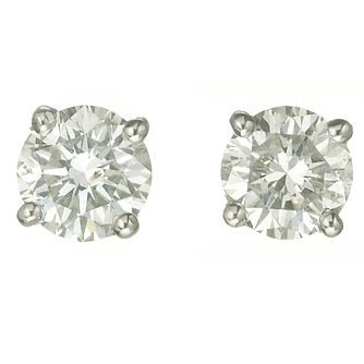 Platinum One Carat Diamond H-I Si2 Stud Earrings - Product number 2542447