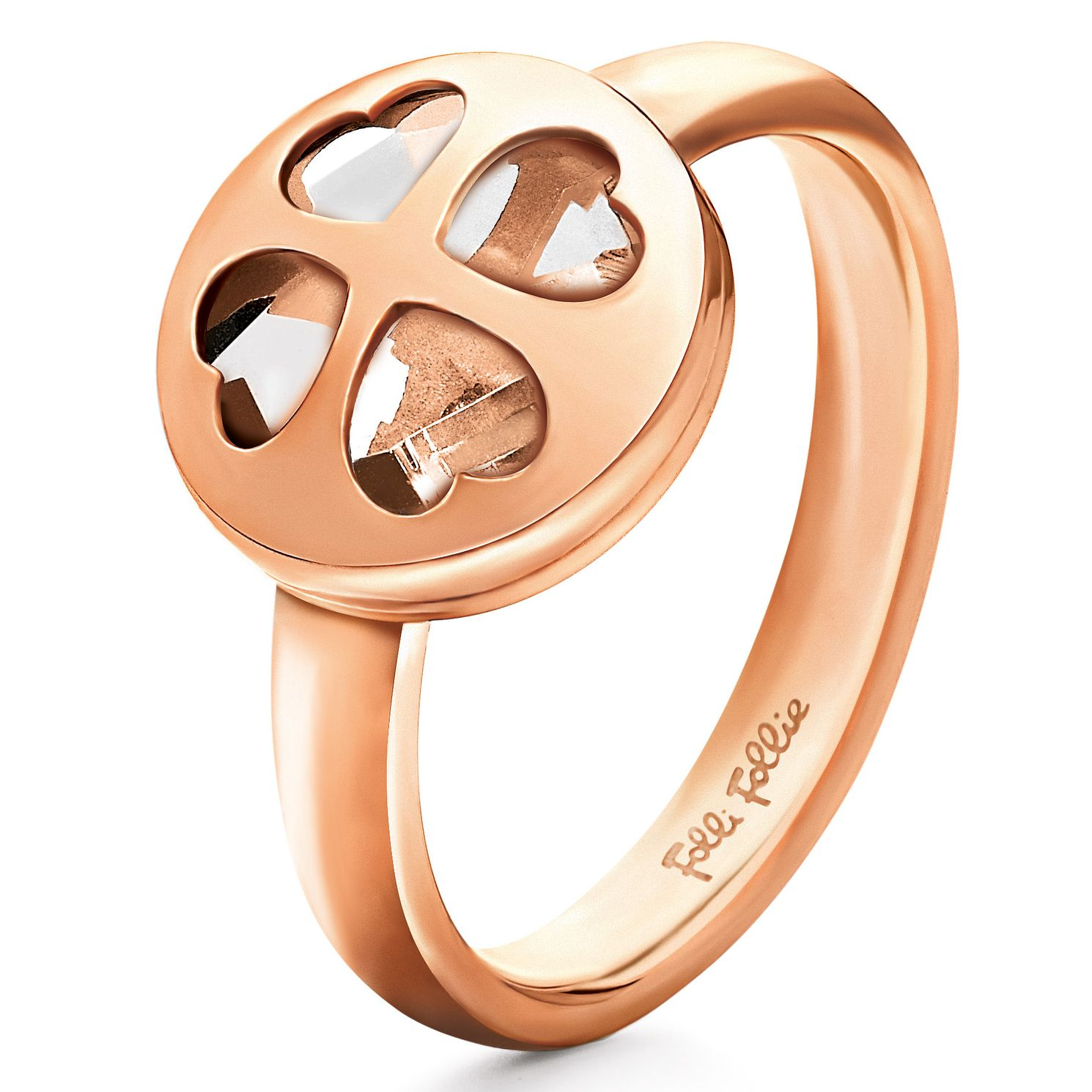 Folli Follie Heart4Heart Rose Gold-Plated Ring Size O 1/2 - Product number 2542617