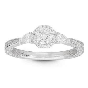 Neil Lane Designs 14ct White Gold 0.58ct Diamond Halo Ring - Product number 2544407