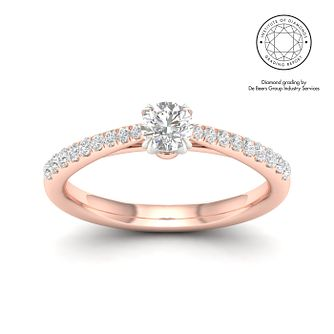 18ct Rose Gold & Platinum 1/2ct Diamond Solitaire Ring - Product number 2544784