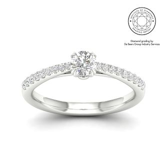 18ct White Gold & Platinum 1/2ct Diamond Solitaire Ring - Product number 2544938