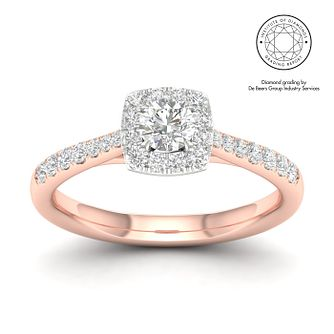 18ct Rose Gold & Platinum 1/2ct Diamond Cushion Halo Ring - Product number 2545195