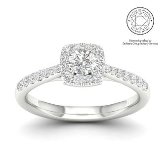 18ct White Gold & Platinum 1/2ct Diamond Cushion Halo Ring - Product number 2545373