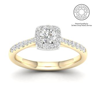 18ct Yellow Gold & Platinum 1/2ct Diamond Cushion Halo Ring - Product number 2545543