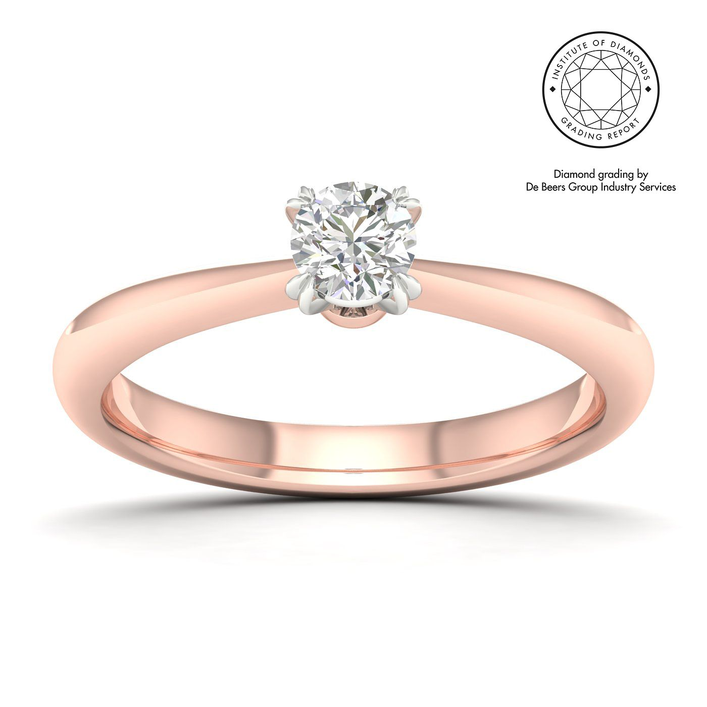 18ct Rose Gold & Platinum 3/10ct Diamond Solitaire Ring - Product number 2545764