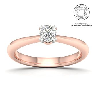 18ct Rose Gold & Platinum 0.30ct Diamond Solitaire Ring - Product number 2545764