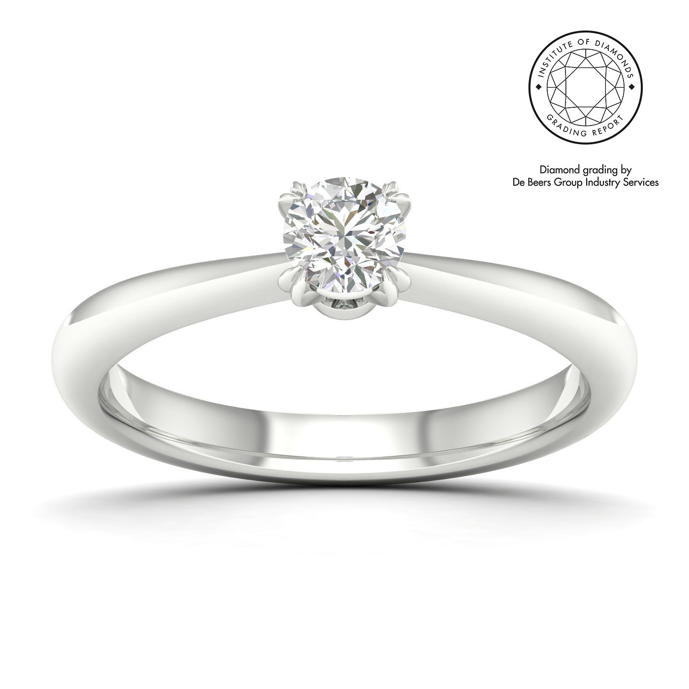 18ct White Gold & Platinum 0.30ct Diamond Solitaire Ring - Product number 2545993
