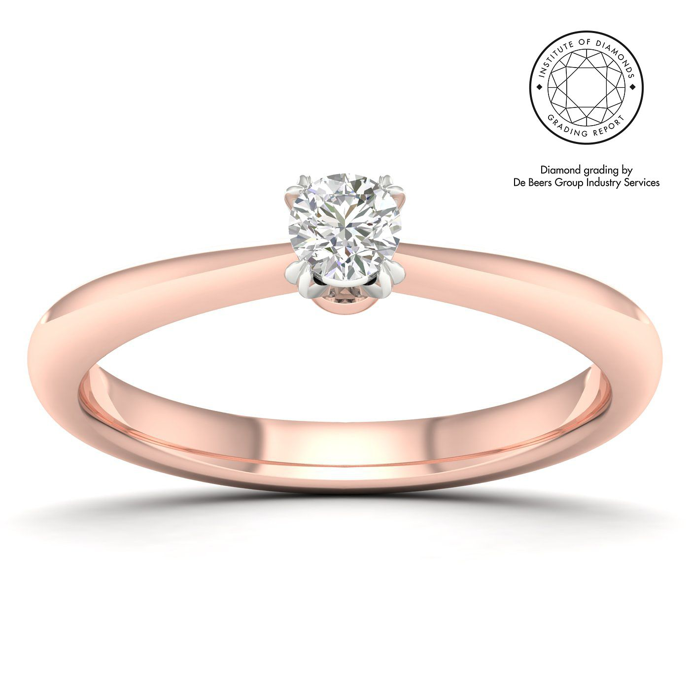 18ct Rose Gold & Platinum 1/5ct Diamond Solitaire Ring - Product number 2546140