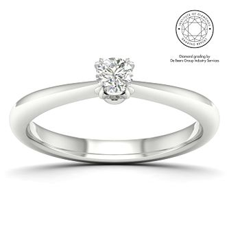 18ct White Gold & Platinum 1/5ct Diamond Solitaire Ring - Product number 2546280
