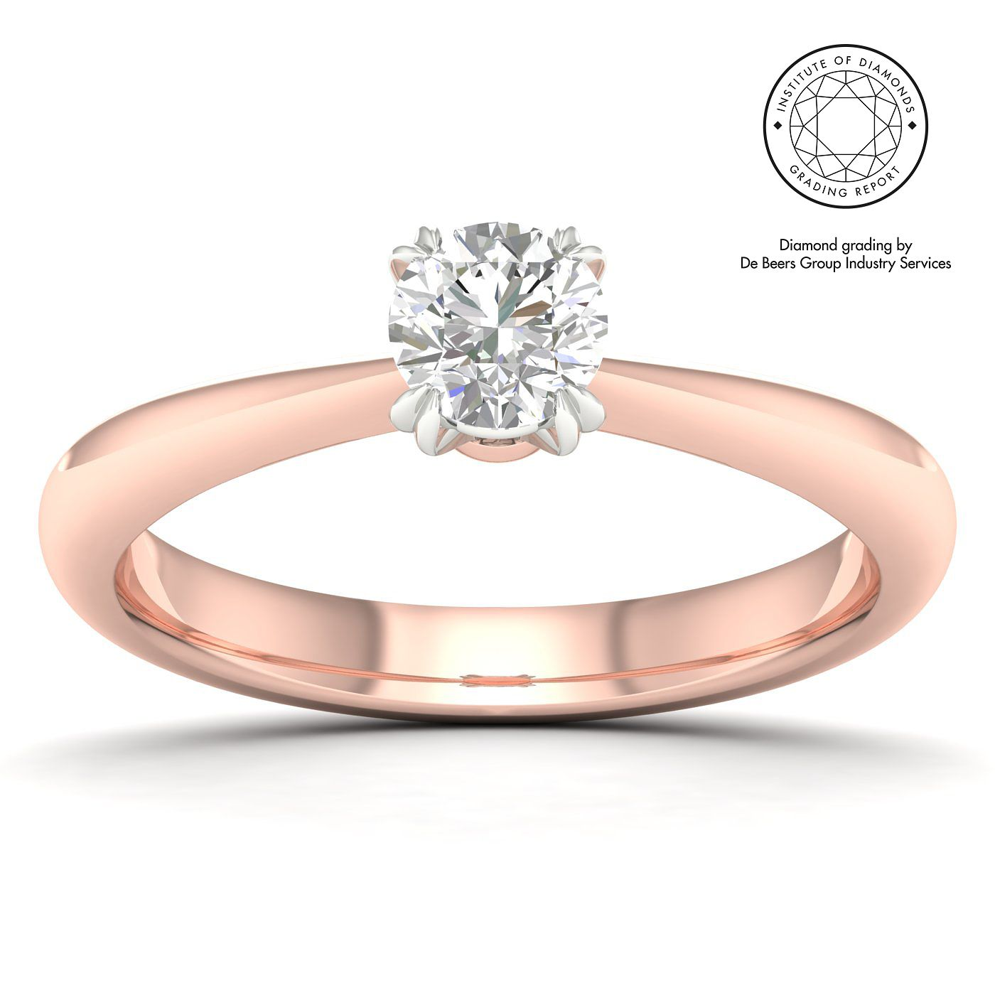 18ct Rose Gold & Platinum 2/5ct Diamond Solitaire Ring - Product number 2546566