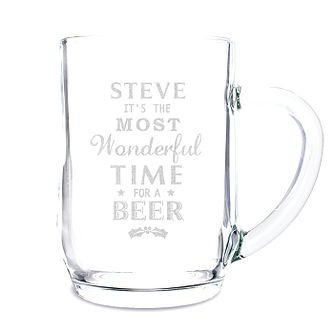 Personalised Wonderful Time For A Beer... Glass Tankard - Product number 2546655