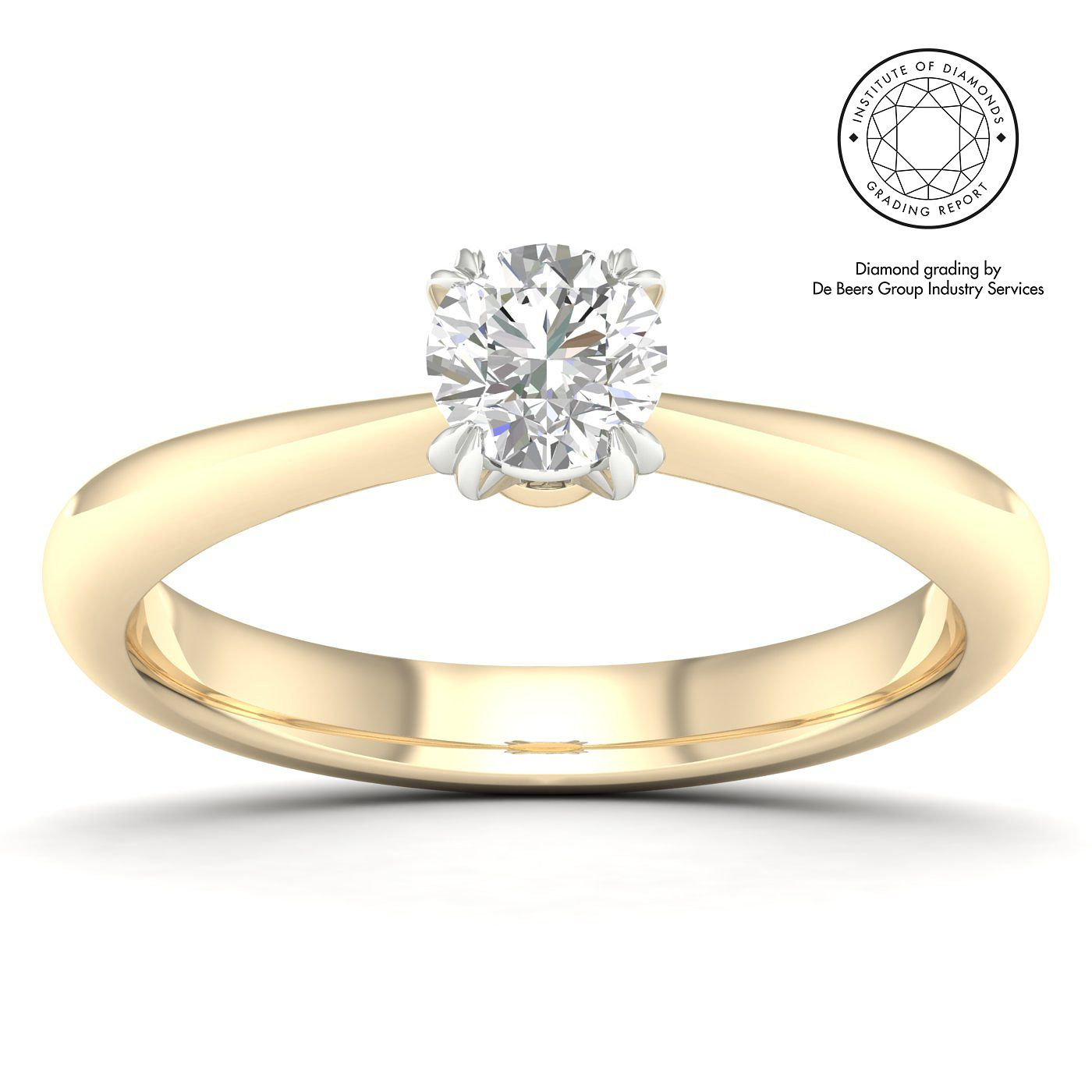 18ct Yellow Gold & Platinum 0.40ct Diamond Solitaire Ring - Product number 2547066