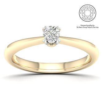 18ct Yellow Gold & Platinum 1/5ct Diamond Solitaire Ring - Product number 2547333