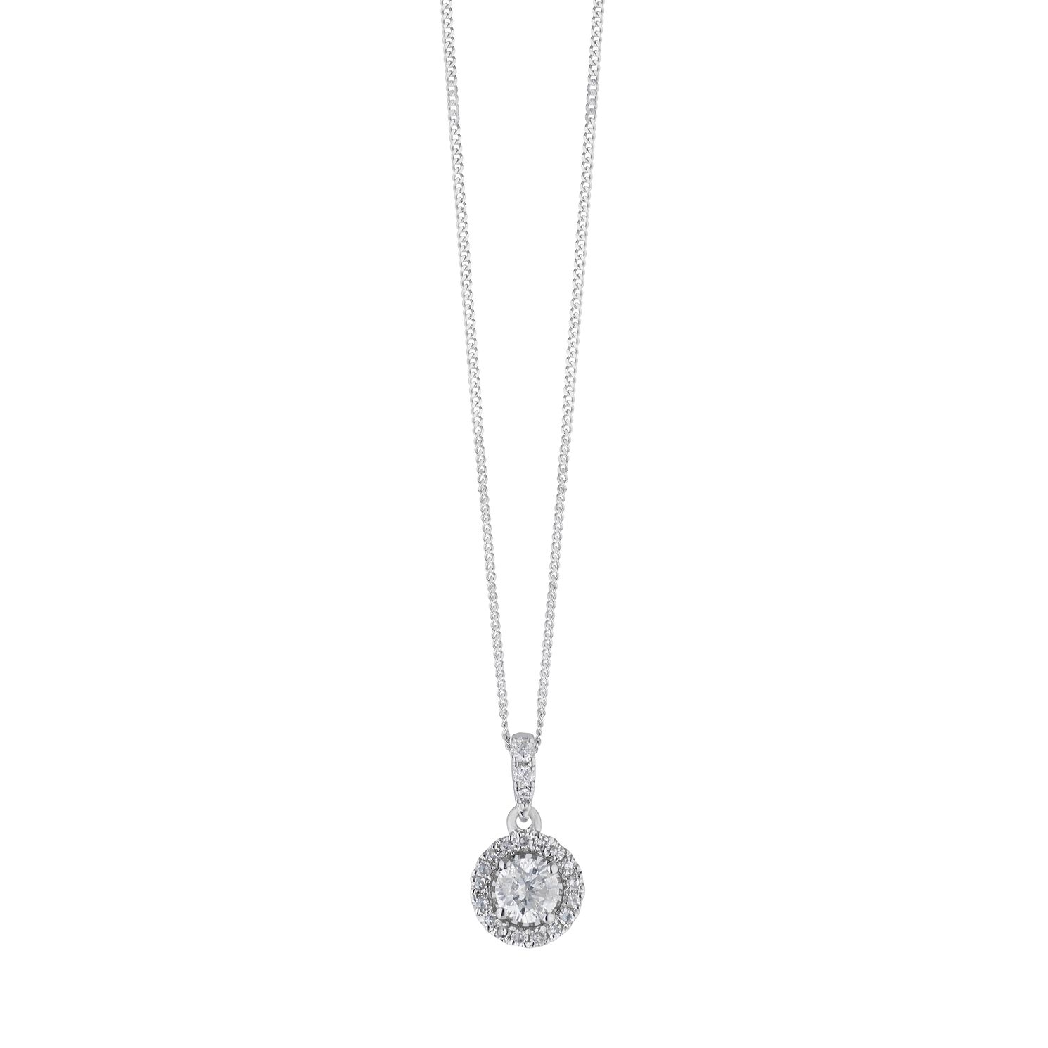 18ct White Gold 1/3ct Diamond Halo Pendant - Product number 2548550