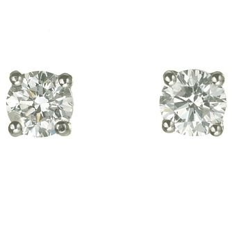 Platinum 3/4 Carat Diamond H-J I2 Stud Earrings - Product number 2550008