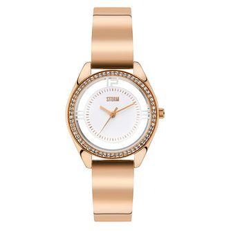 STORM Ladies' Mini Pizaz Rose Gold Plated Bangle Watch - Product number 2553678