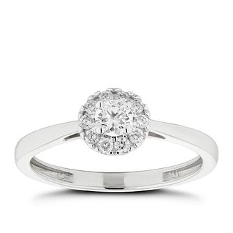 9ct White Gold 1/4ct Diamond Round Halo Ring - Product number 2571994