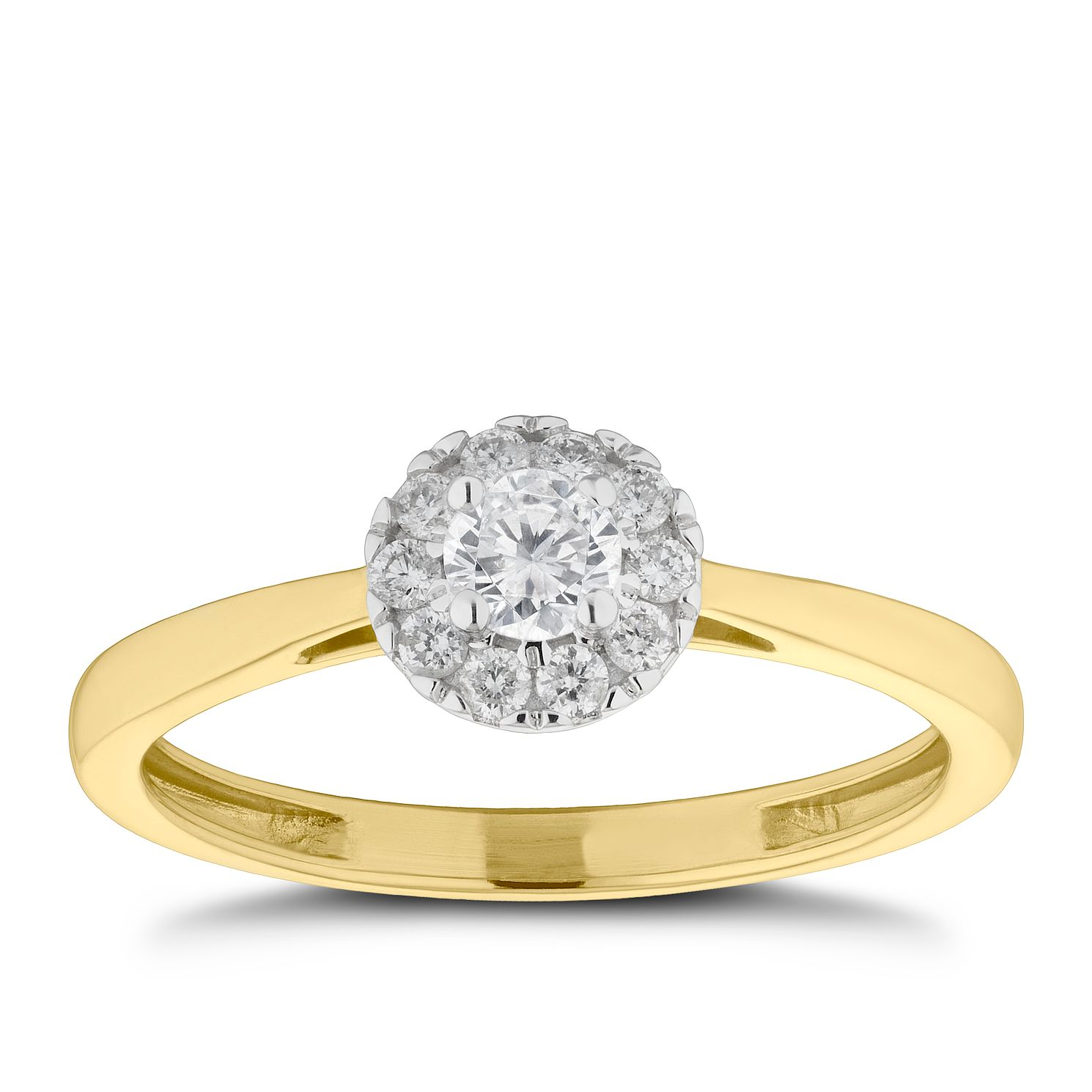 9ct Yellow Gold 0.25ct Total Diamond Round Halo Ring - Product number 2572672